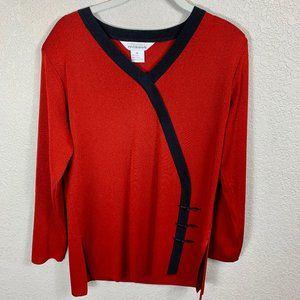 Misook Red Tunic Top w Knot Design Trim  - M